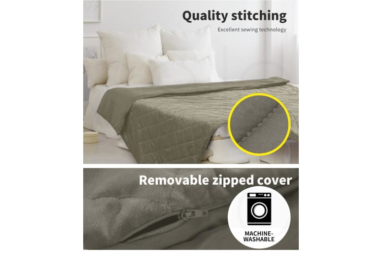 DreamZ Weighted Blanket 10KG Heavy Gravity Deep Relax Adults Cotton Cover Brown