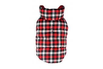 Hip Doggie Gingham Reversible Touch Fastening Puffer Dog Jacket (Black/Red)