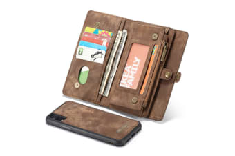 For iPhone XR Case Brown Detachable Multiuse Leather Folio Cover 11 Card Slots