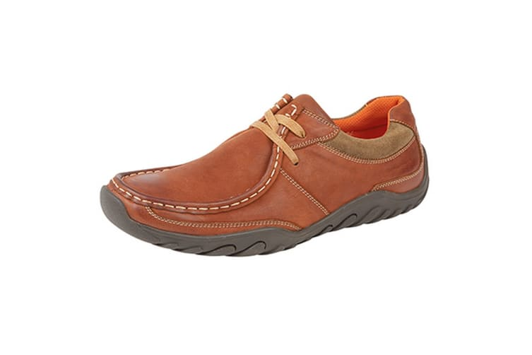 Roamers Mens Lace Up Casual Apron Shoes (Tan Nubuck) (8 UK)