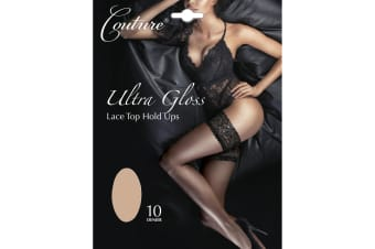 Couture Womens/Ladies Ultra Gloss Lace Top Hold Ups (1 Pair) (Natural)