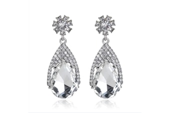 White Gold Plated Multi-color Crystal Teardrop Dangle  Fashion Earrings  Crystal