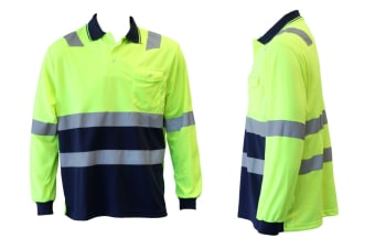 Hi-Vis Safety Workwear Long Sleeve Polo Shirt Top Reflective Tape Two tone - Lime