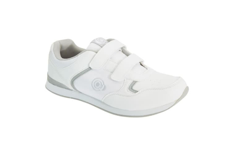 Dek Mens Drive Touch Fastening Trainer-Style Bowling Shoes (White/Grey) (6 UK)