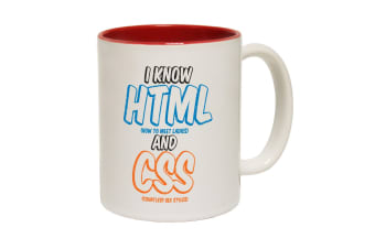 123T Funny Mugs - I Know Html Css - Red Coffee Cup