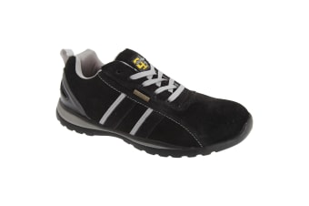 Grafters Mens Safety Toe Cap Trainer Shoes (Black/Grey)
