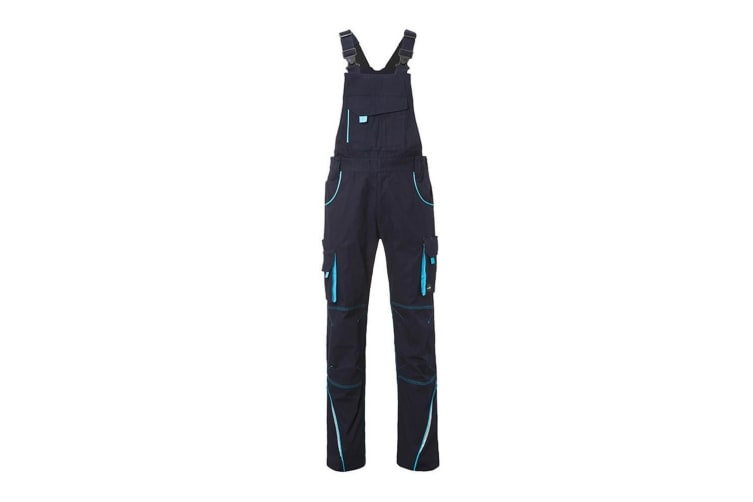 James and Nicholson Unisex Workwear Pants with Bib Level 2 (Navy/Turquoise) (44L)