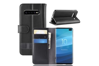 For Samsung Galaxy S10 PLUS Case Black Genuine Leather Wallet Cover