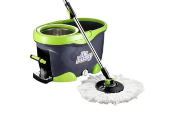 360 Rotating Spin Floor Mop Bucket Cleaning System w/ 4 Microfiber Mop Heads
