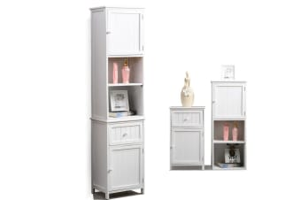 Bathroom Storage Cabinet Furniture Tallboy Toilet Wall Hung/Stand 4 Style White  -  A