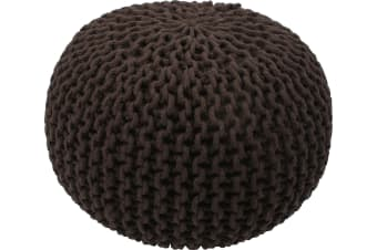 Knitted Gumball Pouf Ottoman | Chocolate