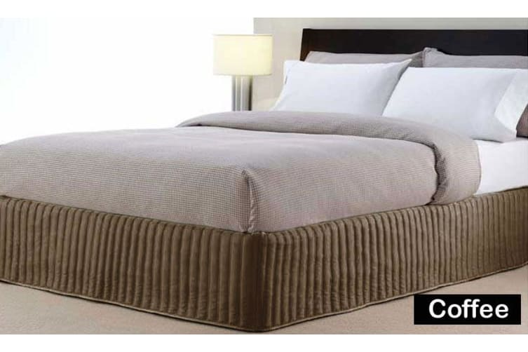 Artex 300TC Cotton Quilted Valance Coffee QUEEN