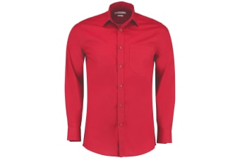 Kustom Kit Mens Long Sleeve Poplin Shirt (Red)