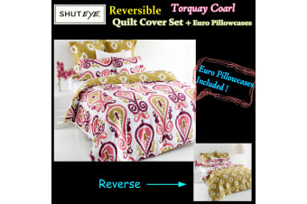 Torquay Coarl Quilt Cover Set + Euro Pillowcases by Shuteye