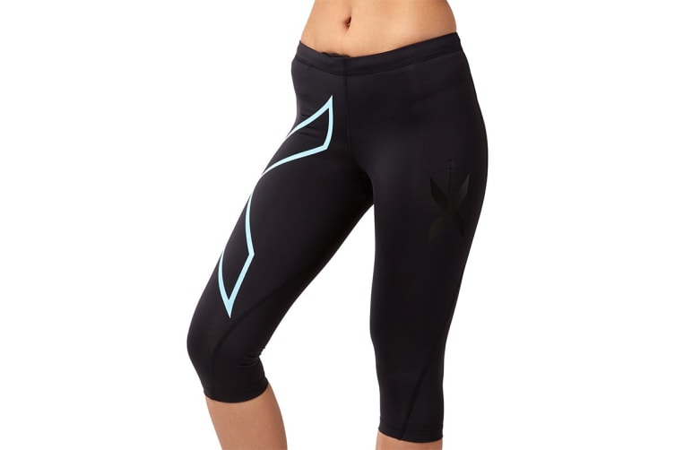 2XU Women's 3/4 Compression Tights G1 (Black/Baby Blue, Size XS)