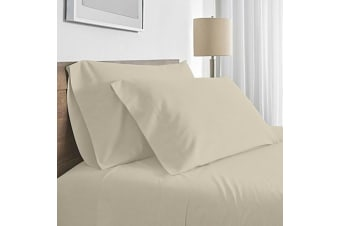 Valeria 1000TC Ultra Soft King Single Bed Sheet Set - Cream