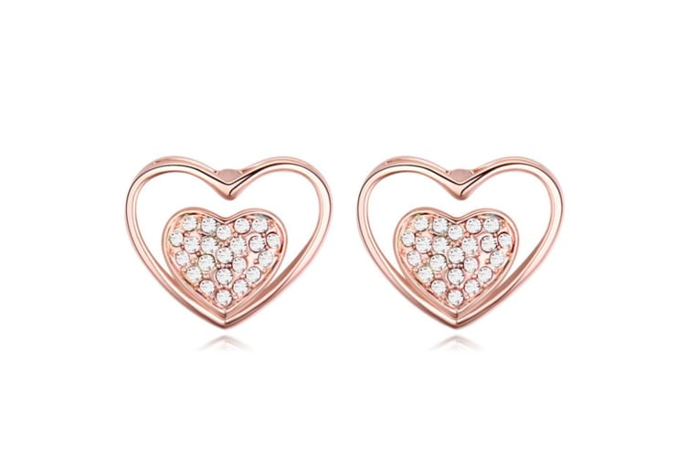 Rose Gold Heart Earrings Embellished with Swarovski crystals