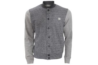 Bench Mens Deviate Button Down Casual Varsity Sweater Jacket With Contrast Sleeves (Dark Grey/Light Grey)