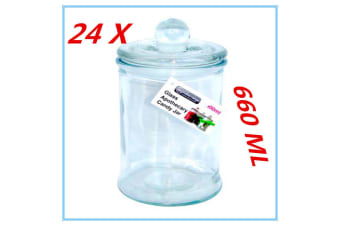 24 X Glass Candy Lolly Buffet Jar Candle Waxing Wedding Party 660ML FREE D