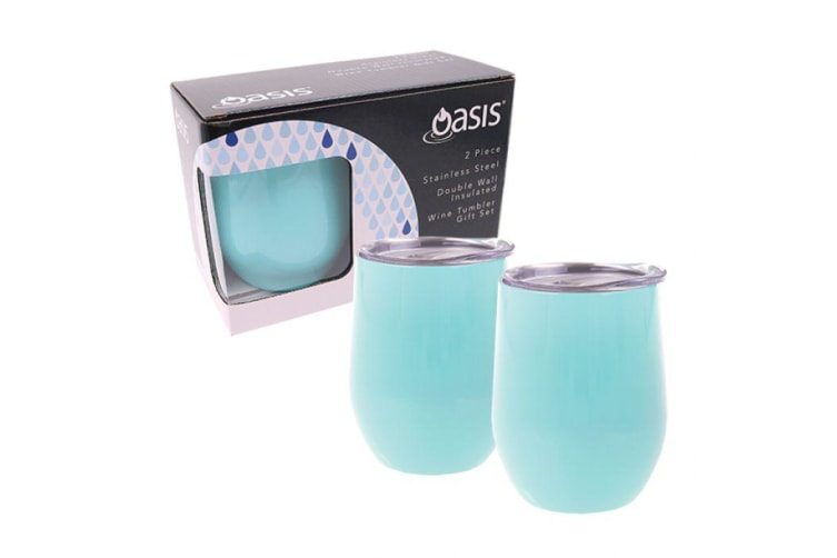 Oasis Stainless Steel Double Wall Insulated Wine Tumbler Gift Set of 2 Spearmint