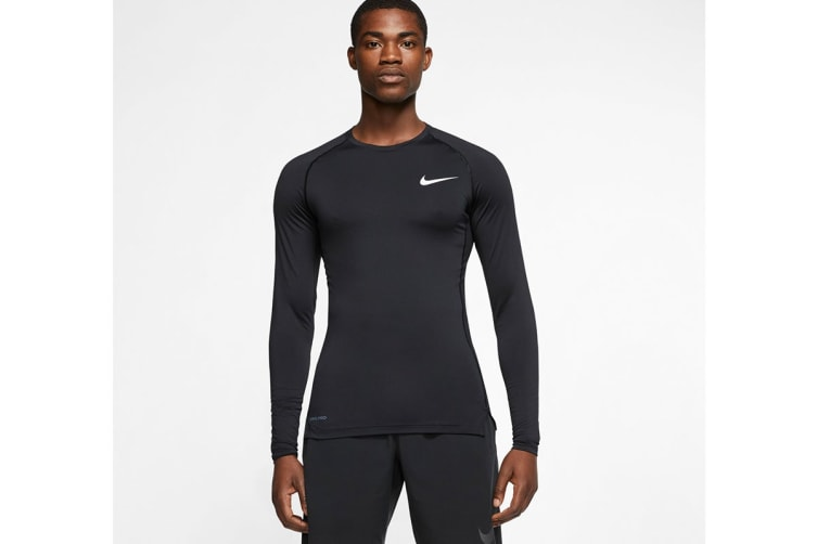Nike Men's Pro Core Tight Tees (Black, Size L)