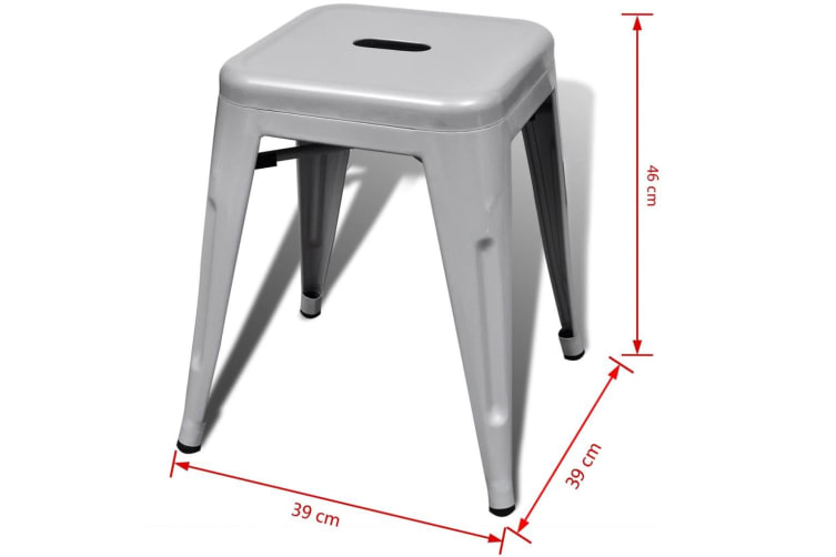 vidaXL Stacking Stools 2 pcs Grey Metal