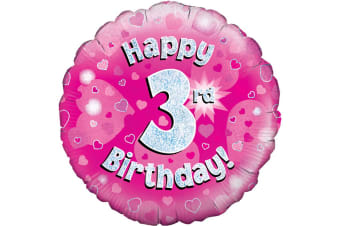 Oaktree 18 Inch Happy 3rd Birthday Pink Holographic Balloon (Pink/Silver)