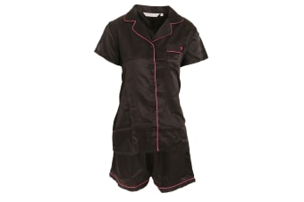 Forever Dreaming Womens/Ladies Luxury Satin Short Sleeve Top And Shorts Pyjama Set (Black)