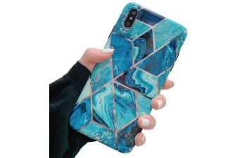 Marble Pattern Soft TPU Case Elegant Stylish Shockproof Silicone Cover for iPhone 7/8 Plus-Blue