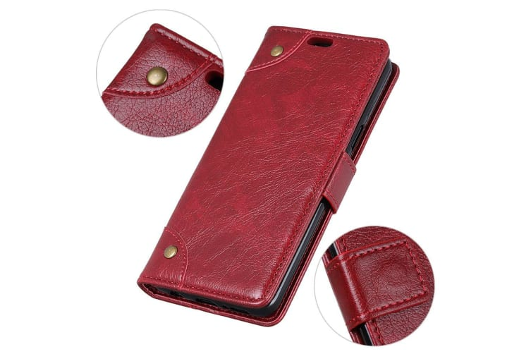 For iPhone XS MAX Case Copper Buckle Flip Leather Wallet Cover Stand Wine Red