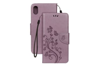 For iPhone XR Case Purple Embossed Butterfly Pattern Folio Leather Case