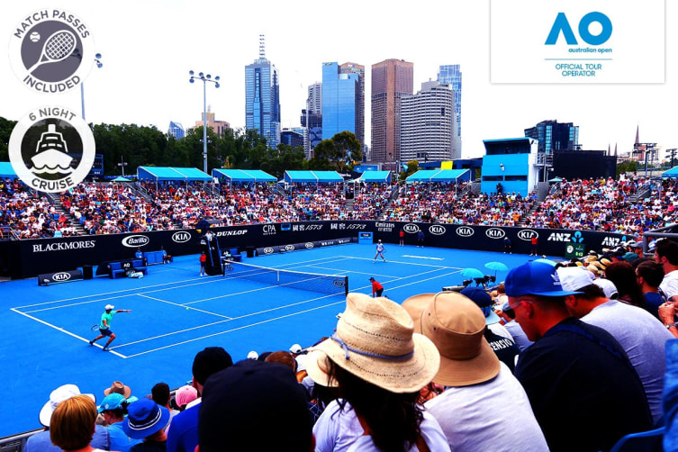 """MELBOURNE: 7 Day 2020 Australian Open and P&O """"Pacific Explorer"""" Cruise Package for Two (Interior Cabin, With Super Suite Tickets)"""