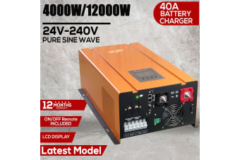 4000W 12000W PEAK 24V PURE SINE WAVE POWER INVERTER 40A CHARGER LCD DISPLAY