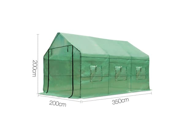 Greenhouse with Green PE Cover 3.5M x 2M
