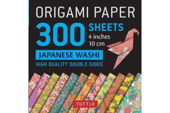 Origami Paper - Japanese Washi Patterns- 4 inch (10cm) 300 sheets - Tuttle Origami Paper: High-Quality Origami Sheets Printed with 12 Different Designs