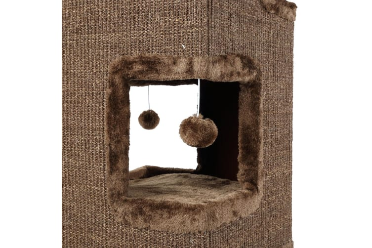 4-Story Cat Climbing Tree Cat Scratching Post Tower-101cm
