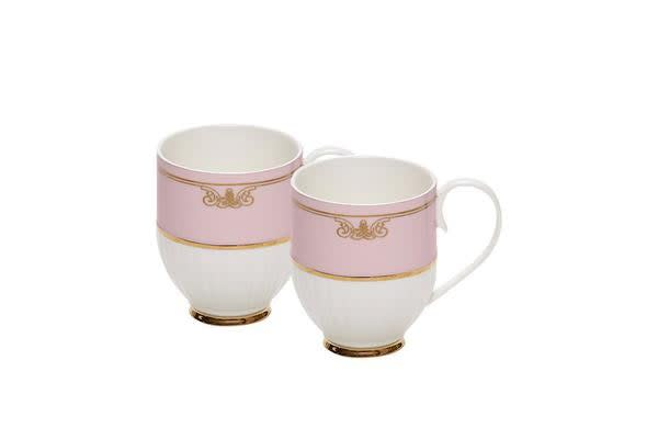 Salt & Pepper Eclectic Mug 330ml Set of 2 Pink Ribbed
