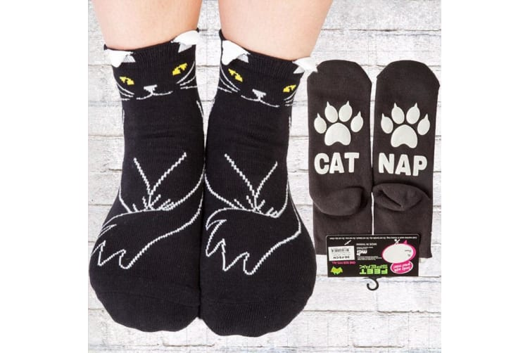 """Silly Soles """"Cat Nap"""" Kitty Socks 