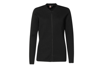 ID Womens/Ladies Fitted Full Zip Knitted Cardigan (Black) (L)
