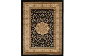 Medallion Classic Pattern Rug Black 170x120cm