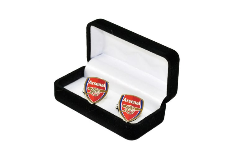 Arsenal FC Official Football Crest Metal Cufflinks (Silver/Red) (One Size)