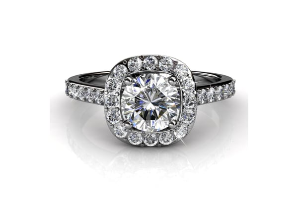 Engagement Ring w/Swarovski Crystals-White Gold/Clear Size US 8