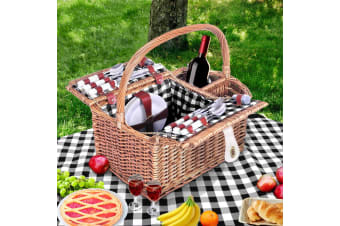 4 Person Picnic Basket Baskets Outdoor Insulated Blanket Deluxe
