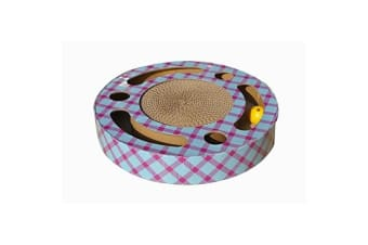 CA&T Slide And Scratch Plaid Interactive Cat Toy (Blue/Pink/Yellow)