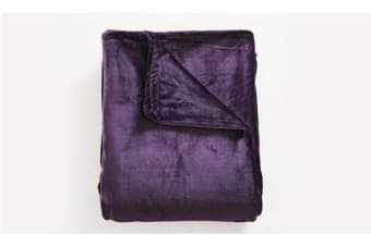 Heavy Mink Coral Fleece Blanket Aubergine L