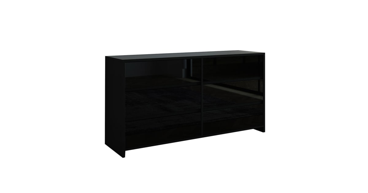 Modern 6 Drawer Chest Dresser High Gloss Storage Cabinet Wood Bedroom  Furniture - Black | Drawers & Cabinets |