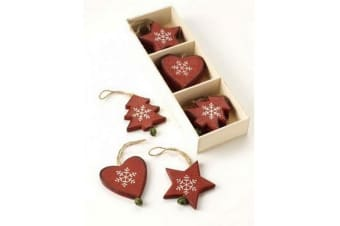 Christmas Hanging Decorations Set (12 Pieces) (Red) (One Size)