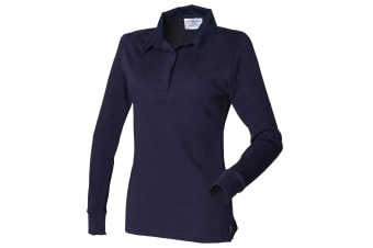 Front Row Womens/Ladies Long Sleeve Plain Sports Rugby Polo Shirt (Navy/Navy)