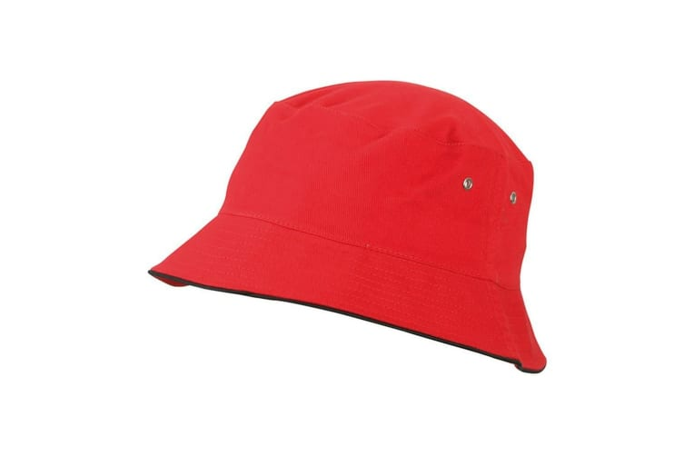 Myrtle Beach Adults Unisex Fisherman Piping Hat (Red/Black) (L/XL)