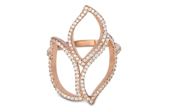 .925 Cz Tritonia Ring-Rose Gold/Clear   Size US 6